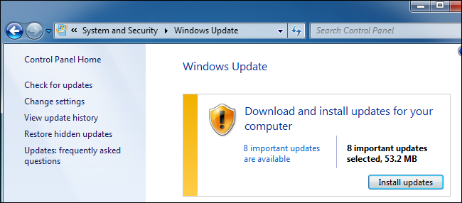 Windows Update downloading updates on Windows 7.