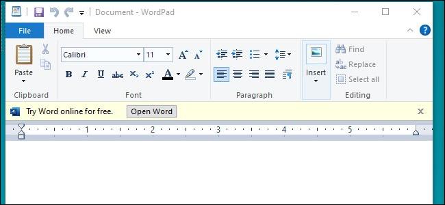 Un anuncio de Word Online en Microsoft WordPad