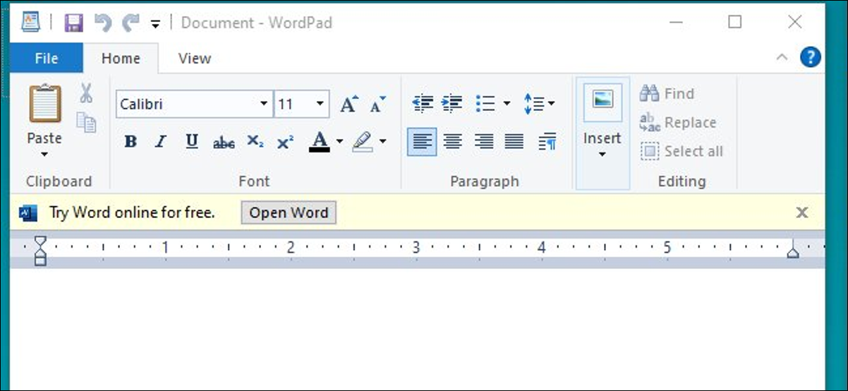 An ad for Word Online in Microsoft WordPad