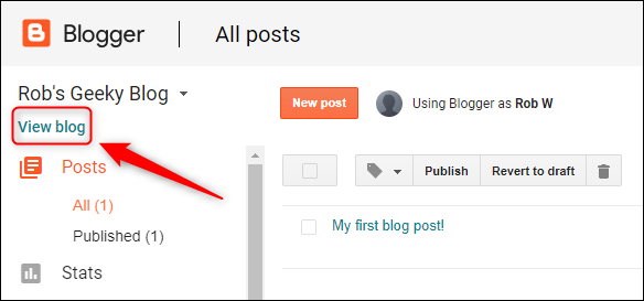 "The ""View Blog"" option."