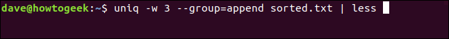 """The """"uniq -w 3 --group=append sorted.txt 