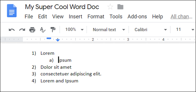 A demoted list item in a Google Doc.