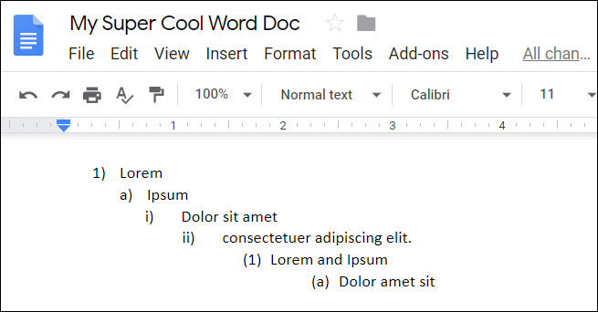 A multilevel list in Google Docs.