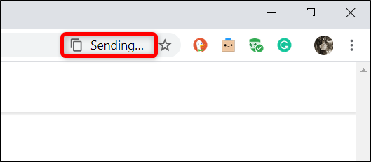 """""""Sending..."""" will appear in the Omnibox when copying onto a device's clipboard."""