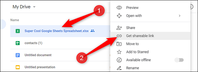 "Right-click the file you want to share, and then click ""Get Shareable Link."""