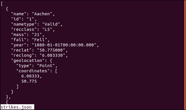 "Output from the ""less strikes.json"" command in less in a terminal window."