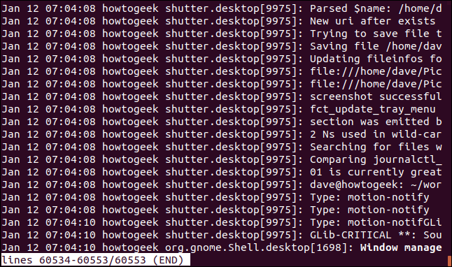 Output from journalctl in a terminal window showing the newest entries