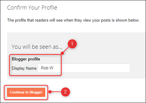 "The ""Confirm Your Profile"" panel, with the ""Display Name"" field highlighted."