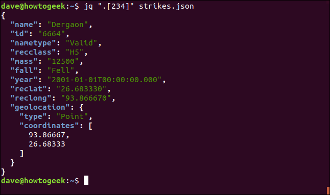 "The ""jq "".[234]"" strikes.json"" command in a terminal window."