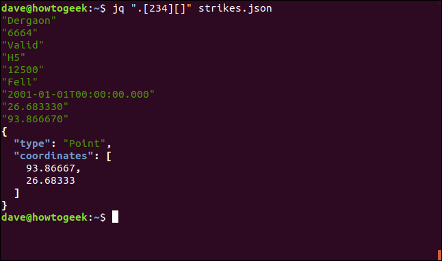"The ""jq ""[234][]"" strikes.json"" command in a terminal window."