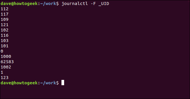 journalctl -F _UID in a terminal window