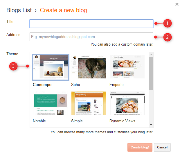 "The ""Create a new blog"" panel with Title, Address, and Them fields highlighted."