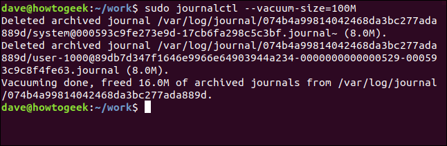 journalctl --vacuum-size=100M in a terminal window