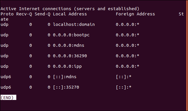 Output from netstat -au | less in a terminal window