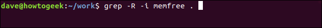 grep -R -i memfree . in a terminal window