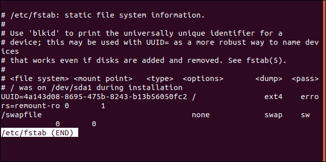 """The """"/etc/fstab"""" file in less in a terminal window."""