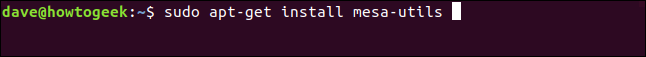 "The ""sudo apt-get install mesa-utils"" command in a terminal window."