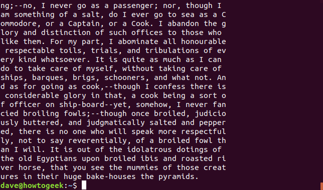 Output from fold with Moby Dick text displayed at a maximum length of 50 characters, in a terminal window