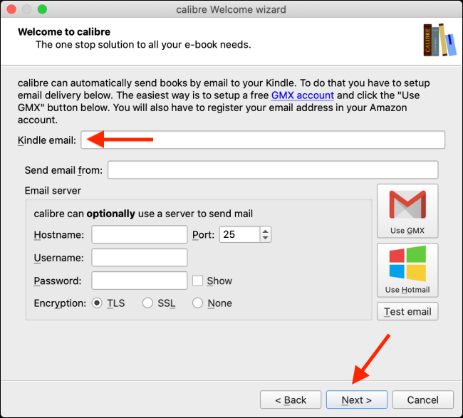 Choose Kindle Email and click Next