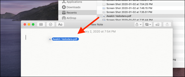 Drag the PDF from Finder to the Notes app.