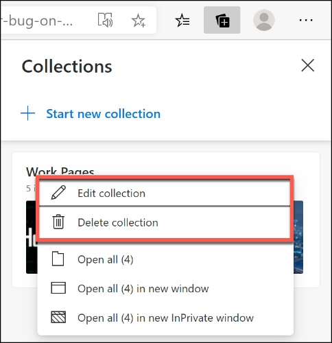 Right-click a Microsoft Edge collection and click Edit Collection or Delete Collection to rename or delete it