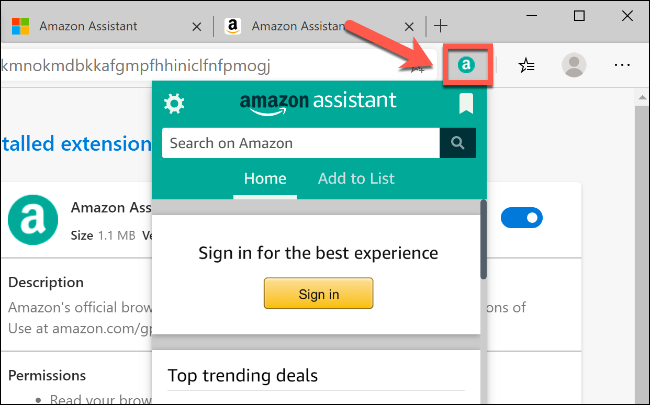 Click on an extension icon in Edge, next to the address bar, to interact with it