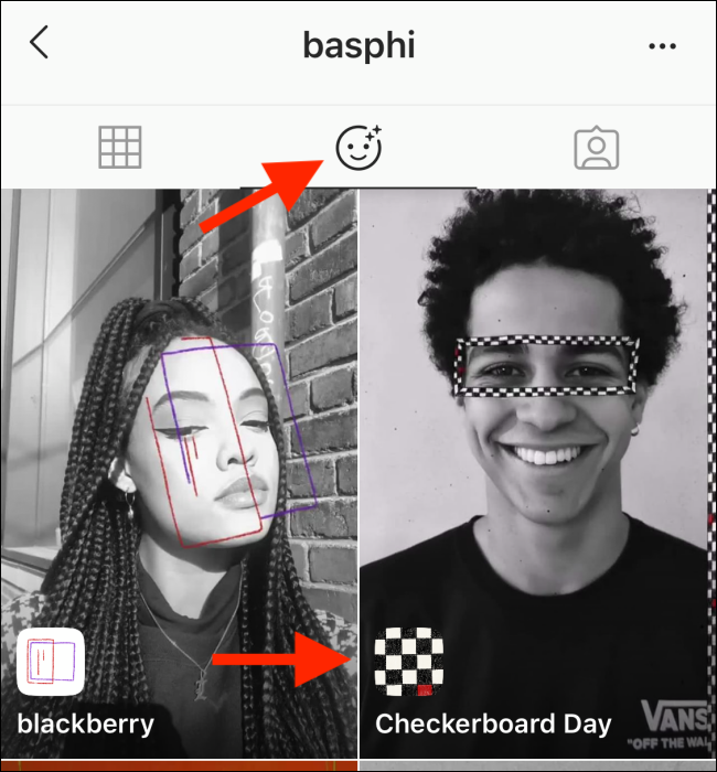 The Effects section of an Instagram profile.