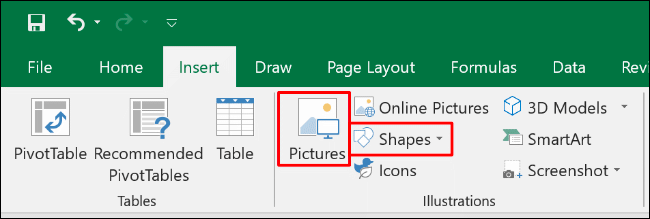 """Click """"Insert,"""" and then select """"Pictures"""" or """"Shapes."""""""