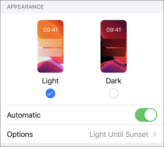 The Light and Dark mode menu in iOS 13.