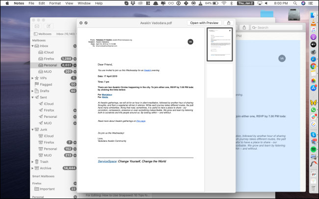 A Quick Look preview of a PDF in the Notes app.