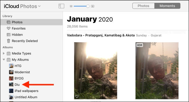 Click an album in the sidebar.