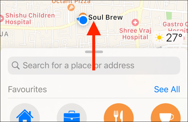Swipe up to expand the menu in Apple Maps.
