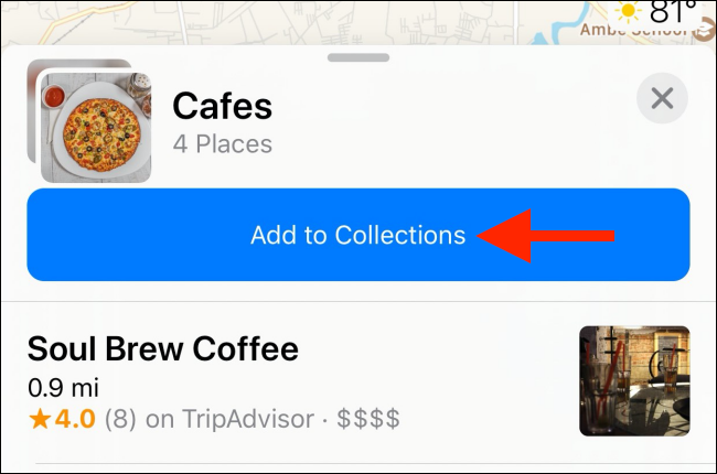 "Tap ""Add to Collections"" to add someone else's Collection your list."