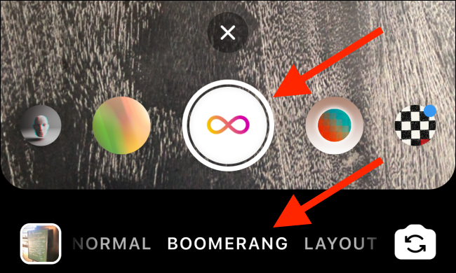Tap the Shutter button to take a Boomerang.