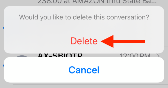"Tap ""Delete"" again to confirm."