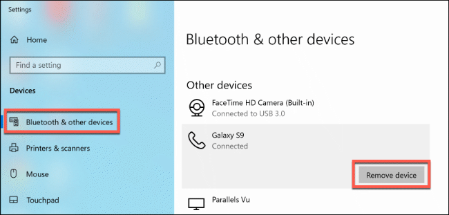 """Click """"Bluetooth and Other Devices,"""" and then click """"Remove Device."""""""