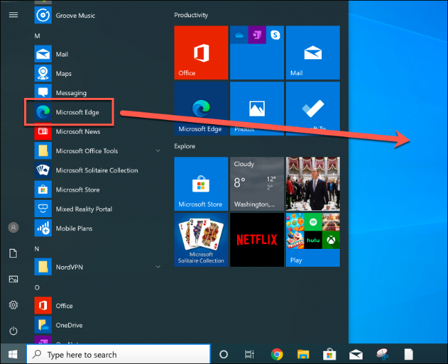 Drag the Start menu item for Microsoft Edge to the desktop to create a new shortcut