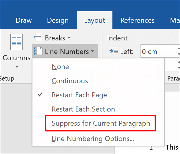 To remove line numbers from a paragraph, click Layout > Line Numbers > Suppress for Current Paragraph