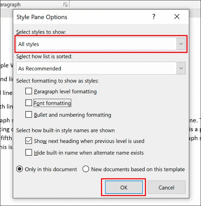 In the Style Pane Options menu, choose All Styles from the Select Styles to Show drop-down menu