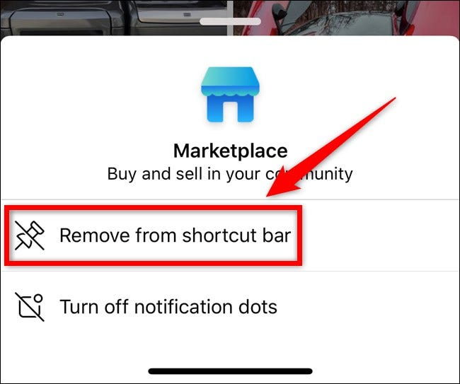 Apple iPhone Facebook App Select Remove From Shortcut Bar