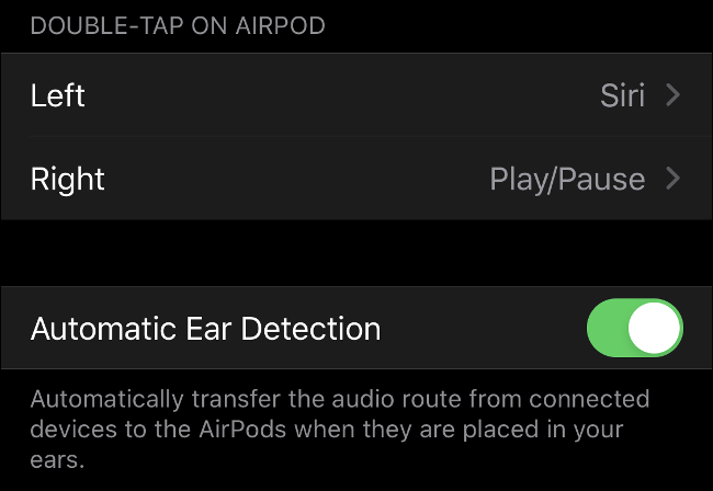 """The """"Automatic Ear Detection"""" option in iOS."""