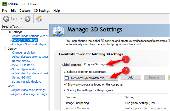 Managing 3D settings for an individual game in the NVIDIA Control Panel.