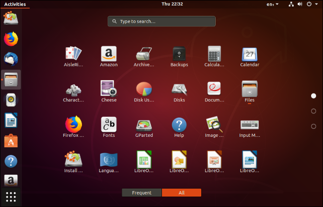 A list of the default installed apps on an Ubuntu desktop.