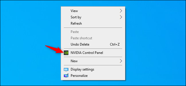 Launching the NVIDIA Control Panel from the Windows desktop