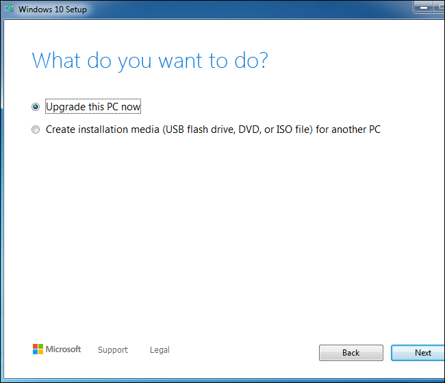 Using the Windows 10 setup tool to upgrade a Windows 7 system.