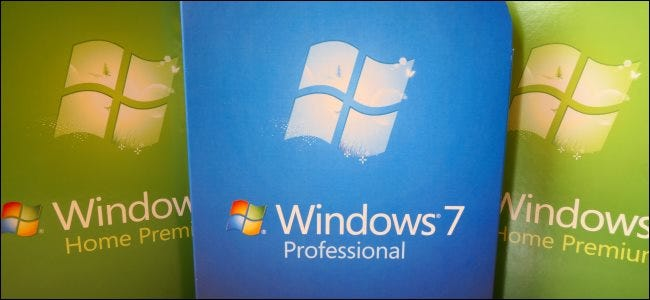 Boxed copies of Windows 7 Professional and Home Premium.