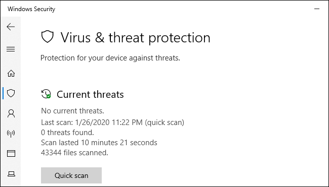 The Windows Security virus & threat protection screen on Windows 10