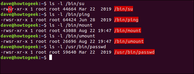 A list of Linux commands that have their SUID bit set in a terminal window.