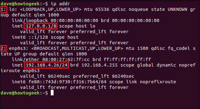 "The ""ip addr"" command in a terminal window."