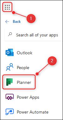 El iniciador de la aplicación O365 con la aplicación Planner resaltada.